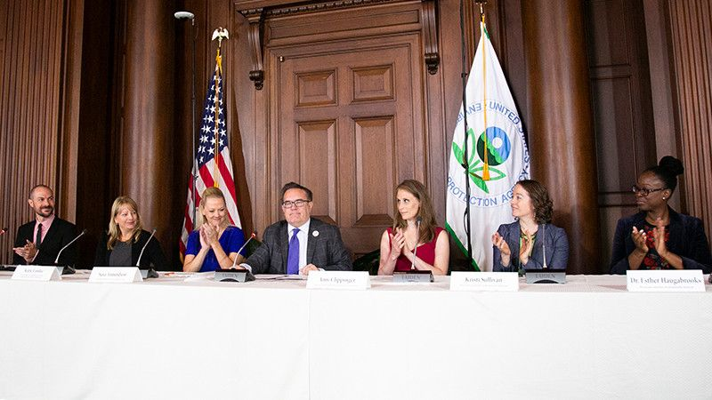 EPA Administrator Andrew Wheeler (center), Kristie Sullivan, MPH, Physicians Committee vice president of research policy (second from right), Esther Haugabrooks, PhD, Physicians Committee toxicologist (right)