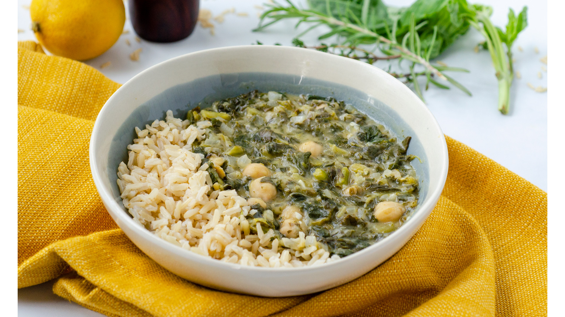 Fresh Herb Chickpea Stew With Brown Rice