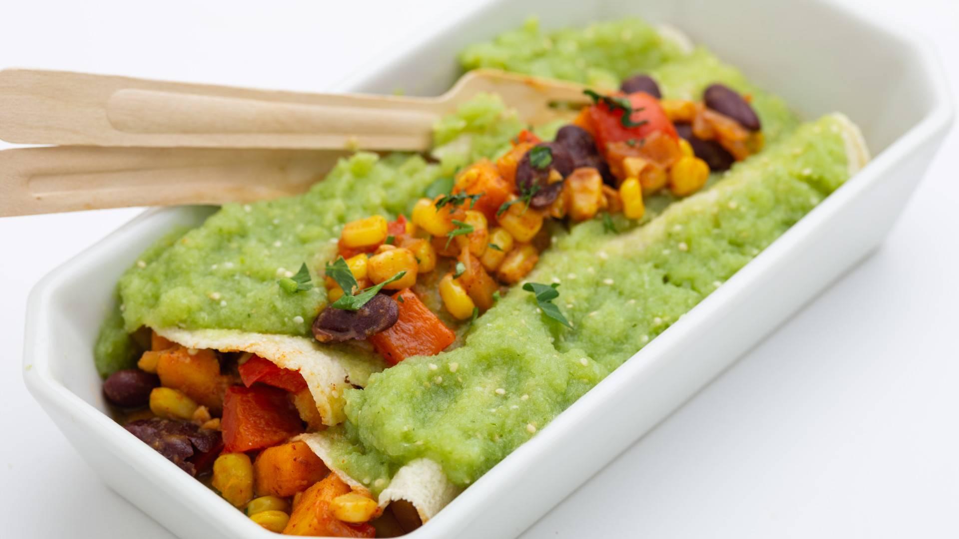 Roasted Vegetable Enchiladas with Salsa Verde
