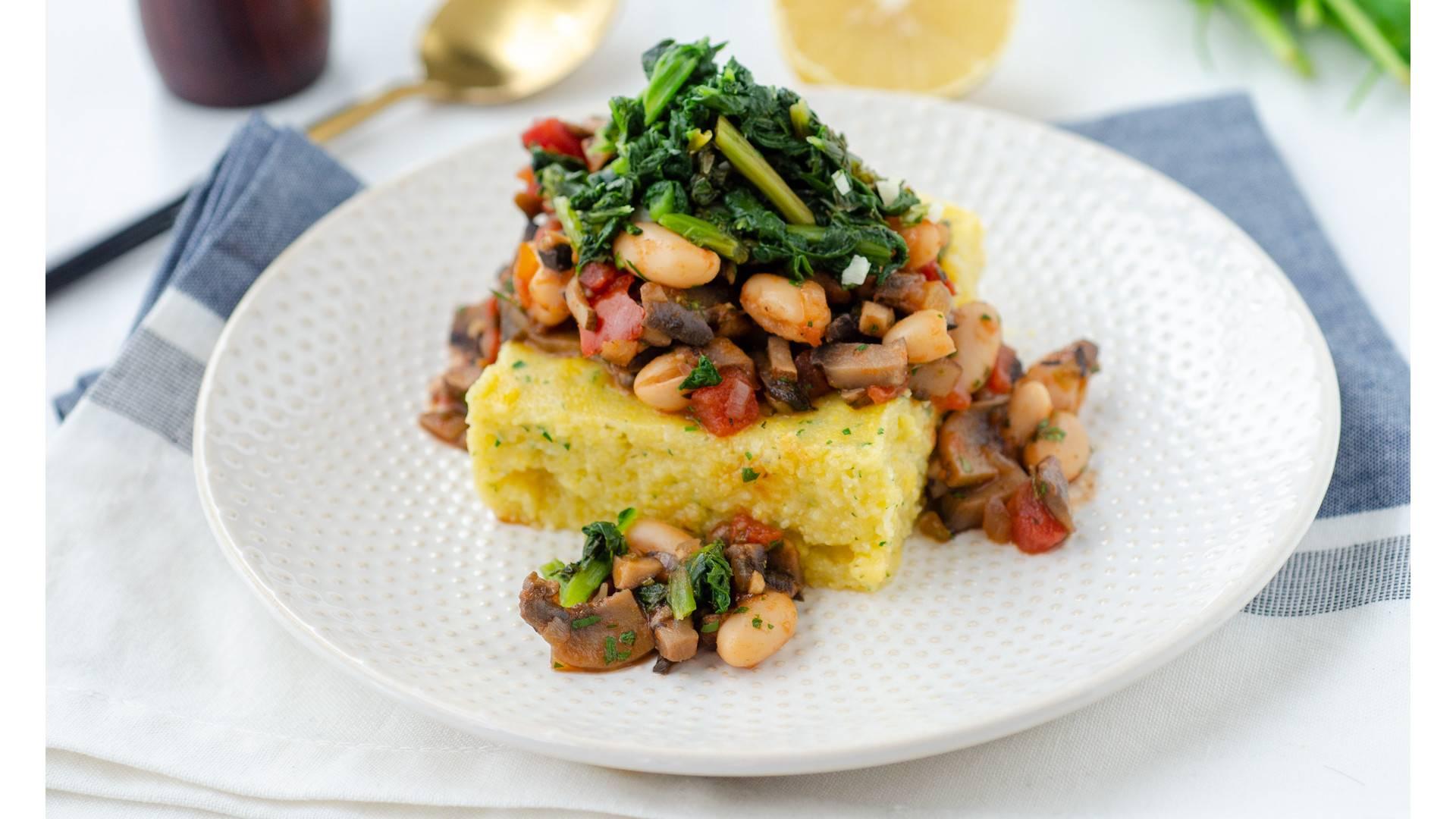 Mushroom Ragout With Herbed Polenta and Garlicky Kale