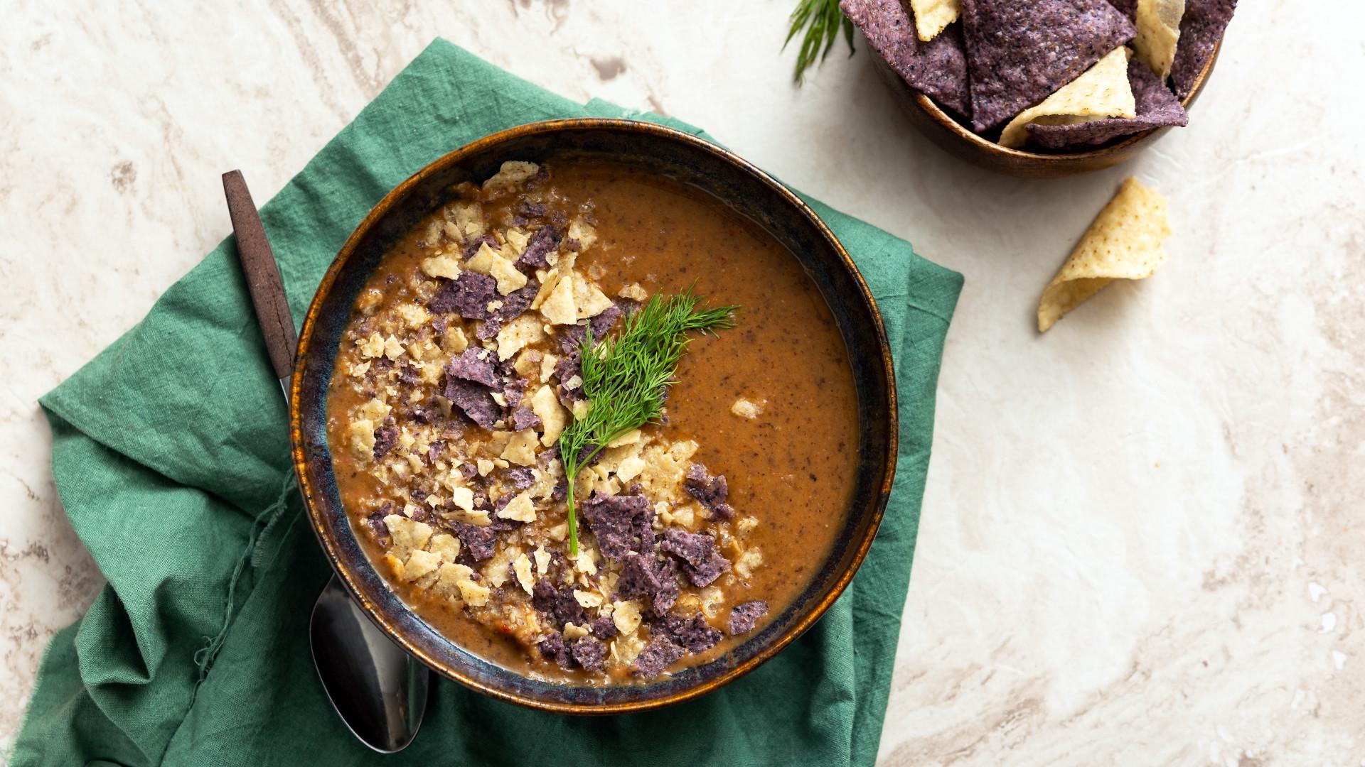 Creamy Black Bean Tortilla Soup