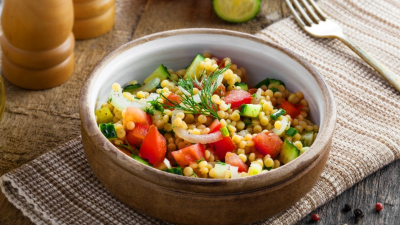 Israeli Couscous With Carrots Peas And Red Wine Vinegar