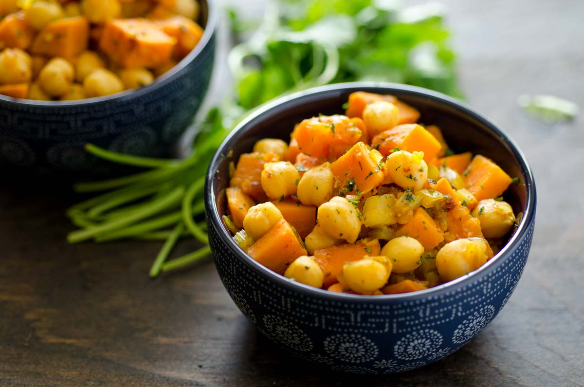 Sweet Potatoes And Chickpeas In Chili Sauce