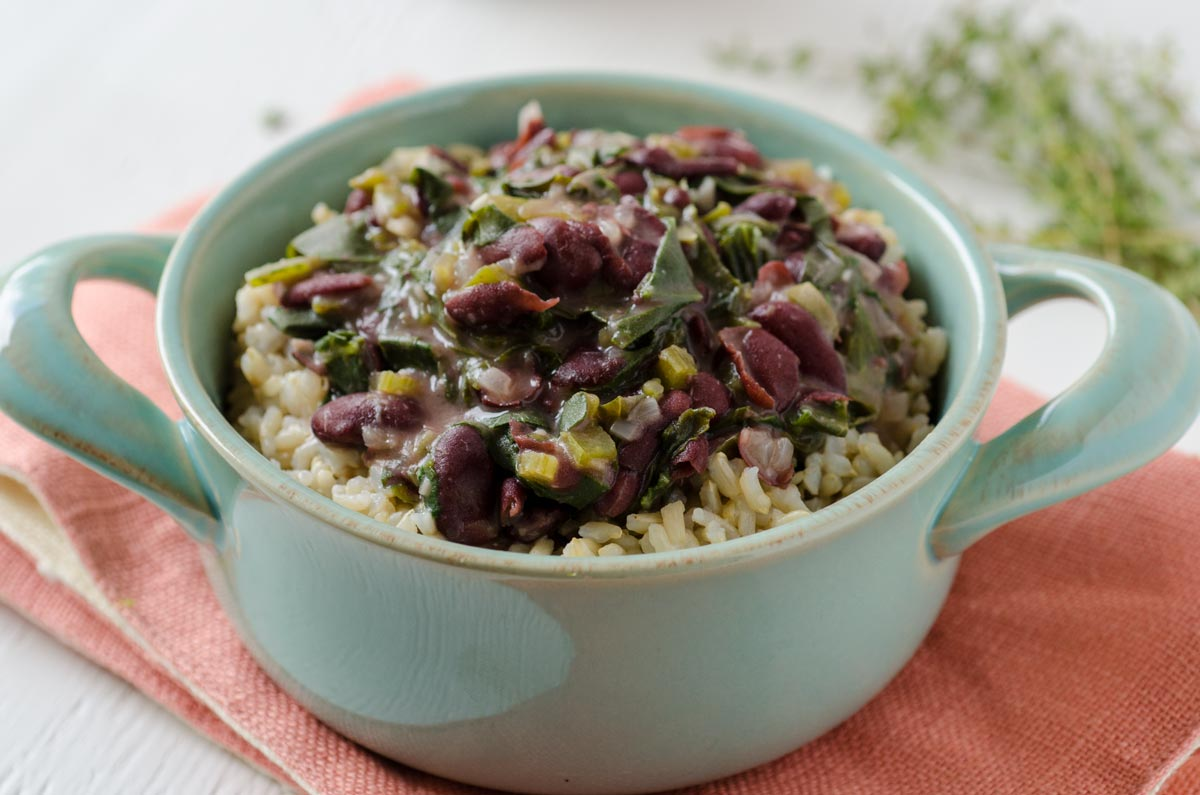 Red Beans And Rice With Collard Greens