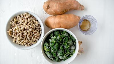 black-eyed peas spinach sweet potatoes
