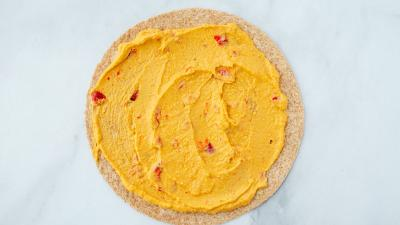 tortilla with red pepper hummus